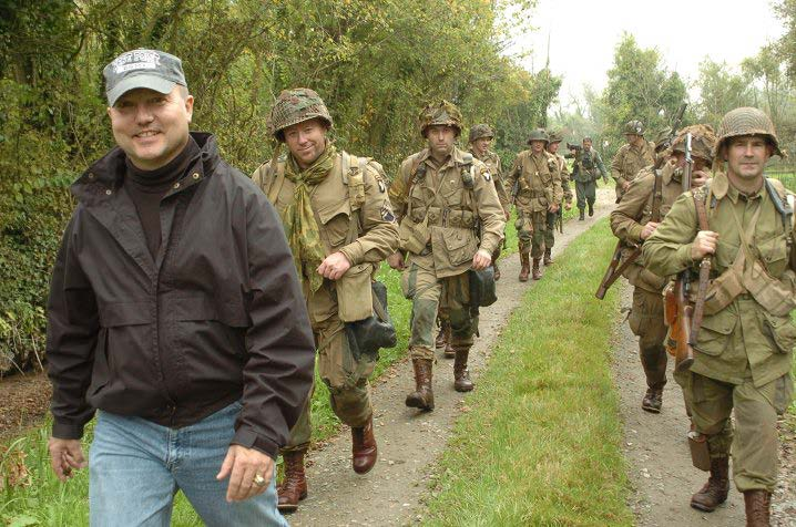 Col. John Antal with re-enactors in Normandy, France.