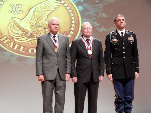 From left to right: General (Ret) William F. Kernan, Colonel (Ret) Robert L. Tonsetic, Command Sergeant Major Charles Albertson